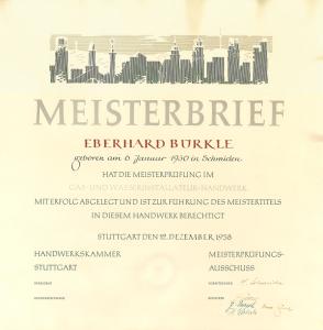 1958 | Eberhard Bürkle sen. absolviert seine Meisterprüfung im Gas- und Wasserinstallateur-Handwerk und legt damit den Grundstein zur Firmengründung im darauffolgenden Jahr.